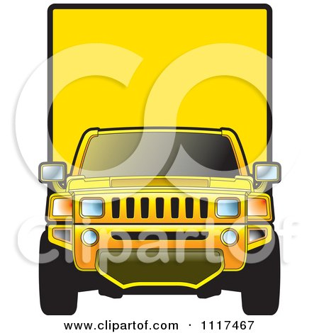 Clipart Of A Yellow Moving Truck - Royalty Free Vector Illustration by Lal Perera