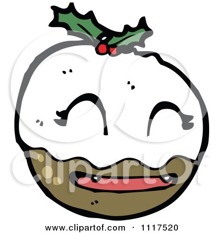 Cartoon Of Xmas Plum Pudding Character 23 - Royalty Free Vector Clipart by lineartestpilot