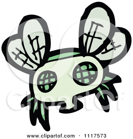 Cartoon Of A Green House Fly 3 - Royalty Free Vector Clipart by lineartestpilot