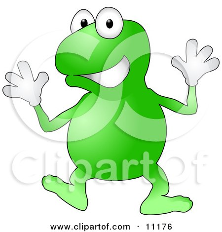 a Happy Green Frog Wearing Gloves Doing Jazz Hands While Dancing Clipart Illustration by AtStockIllustration