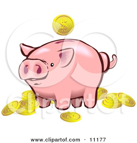 Pink Piggy Bank Surrounded by Golden Coins Clipart Illustration by AtStockIllustration