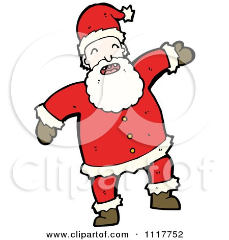 Cartoon Happy Xmas Santa Claus 1 - Royalty Free Vector Clipart by lineartestpilot