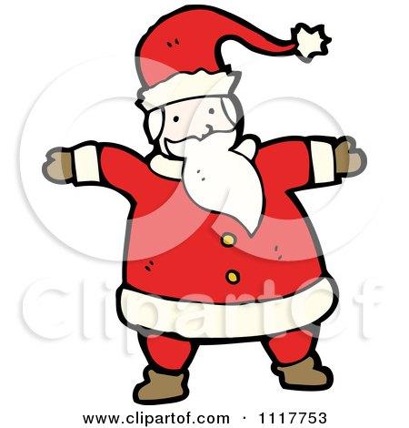 Cartoon Happy Xmas Santa Claus 2 - Royalty Free Vector Clipart by lineartestpilot
