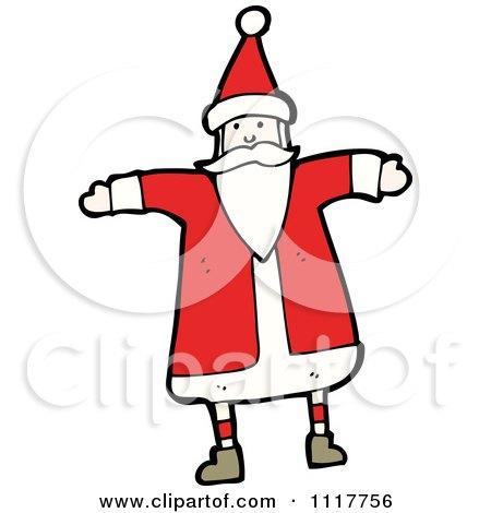 Cartoon Happy Xmas Santa Claus 3 - Royalty Free Vector Clipart by lineartestpilot
