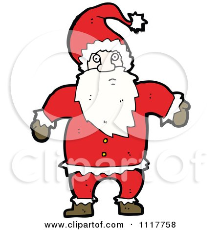 Cartoon Happy Xmas Santa Claus 5 - Royalty Free Vector Clipart by lineartestpilot