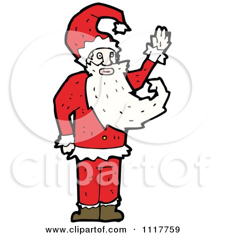 Cartoon Happy Xmas Santa Claus 6 - Royalty Free Vector Clipart by lineartestpilot