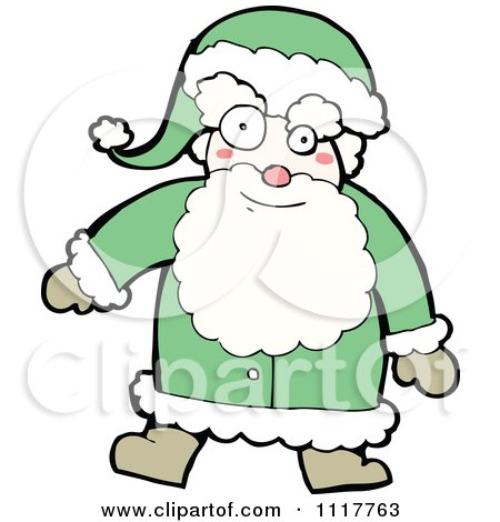 Cartoon Green Xmas Santa Claus 1 - Royalty Free Vector Clipart by lineartestpilot