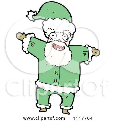 Cartoon Green Xmas Santa Claus 2 - Royalty Free Vector Clipart by lineartestpilot
