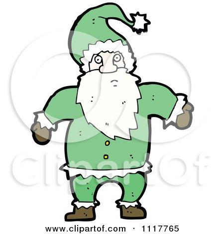 Cartoon Green Xmas Santa Claus 3 - Royalty Free Vector Clipart by lineartestpilot