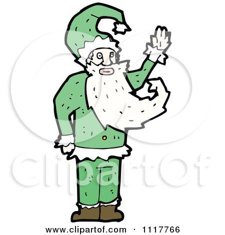 Cartoon Green Xmas Santa Claus 4 - Royalty Free Vector Clipart by lineartestpilot
