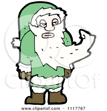 Cartoon Green Xmas Santa Claus 5 - Royalty Free Vector Clipart by lineartestpilot