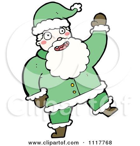 Cartoon Green Xmas Santa Claus 6 - Royalty Free Vector Clipart by lineartestpilot