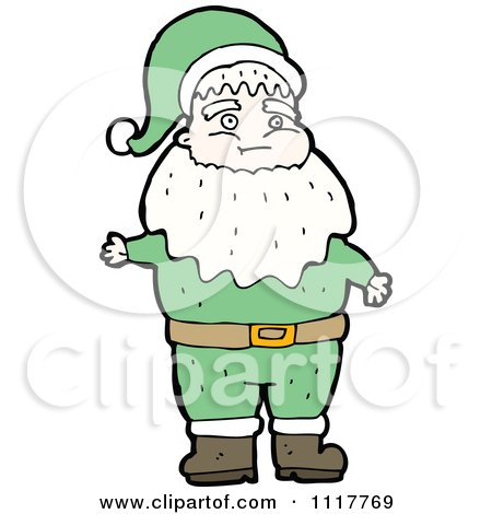 Cartoon Green Xmas Santa Claus 7 - Royalty Free Vector Clipart by lineartestpilot