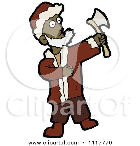 Cartoon Black Xmas Santa Claus With An Axe - Royalty Free Vector Clipart by lineartestpilot