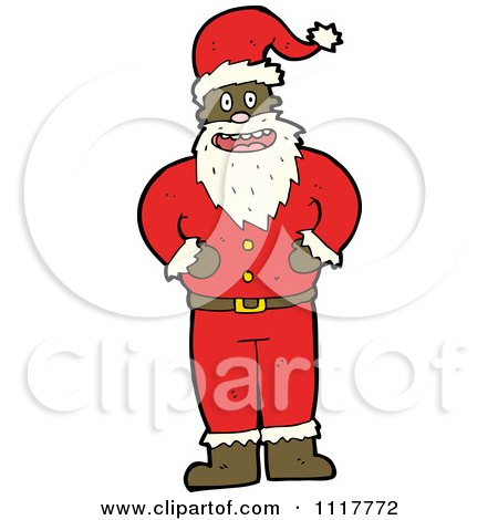 Cartoon Happy Black Xmas Santa Claus - Royalty Free Vector Clipart ...