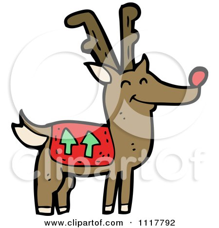 Cartoon Red Nosed Christmas Reindeer 5 - Royalty Free Vector Clipart by lineartestpilot