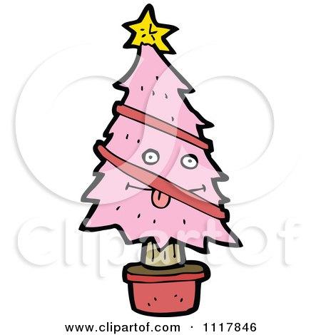 Cartoon Pink Christmas Tree Character 7 Royalty Free Vector