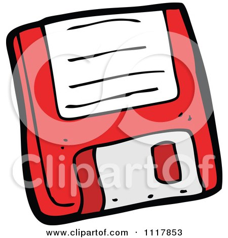 Cartoon Retro Red Computer Floppy Disk 1 - Royalty Free Vector Clipart by lineartestpilot
