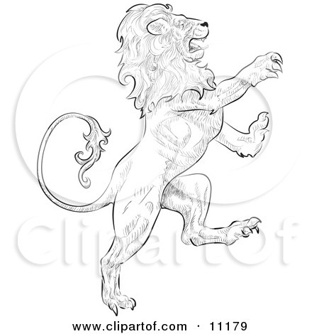 a Lion Attacking, Leo, Astrological Sign of the Zodiac Clipart Illustration by AtStockIllustration