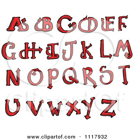 Clipart Red Devilish Capital Letters - Royalty Free Vector Illustration by lineartestpilot