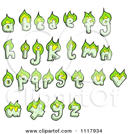 Clipart Green Flaming Lowercase Letters - Royalty Free Vector Illustration by lineartestpilot