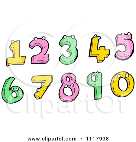 Clipart Of Colorful Numbers With Eyes - Royalty Free Vector Illustration by lineartestpilot