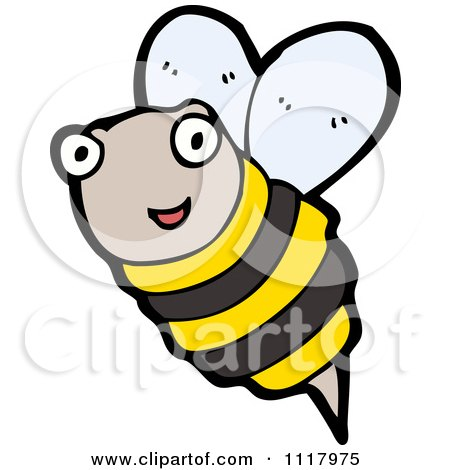 Cartoon Of A Flying Bee 8 - Royalty Free Vector Clipart by lineartestpilot