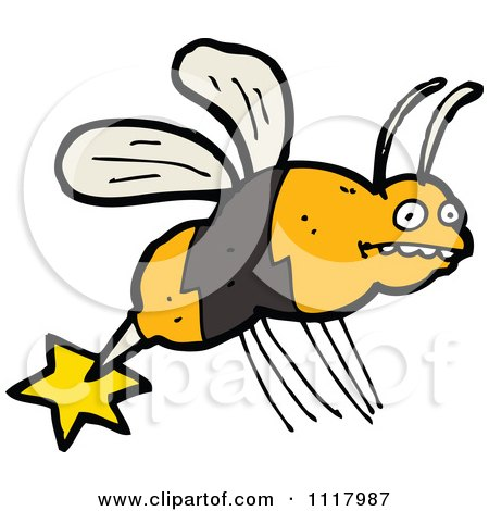 Cartoon Of A Stinging Bee 1 - Royalty Free Vector Clipart by lineartestpilot