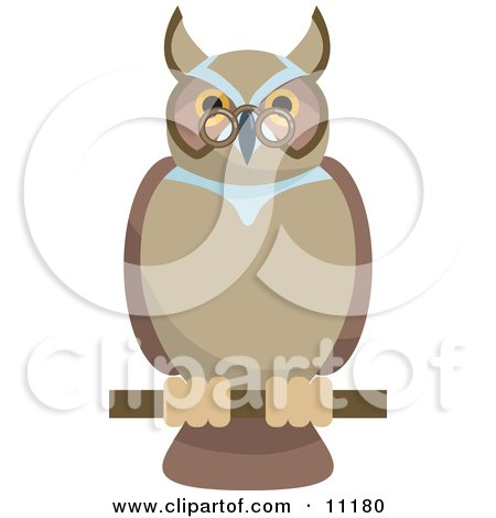Old Wise Owl Wearing Glasses, Perched on a Branch Clipart Illustration by AtStockIllustration