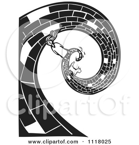 Woodcut Clipart Of A Black And White Dorothy And Toto On The Yellow Brick Road - Royalty Free Vector Illustration by xunantunich