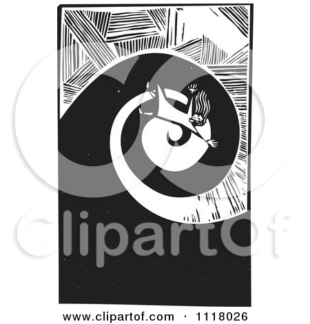 Woodcut Clipart Of A Black And White Woman Falling - Royalty Free ...