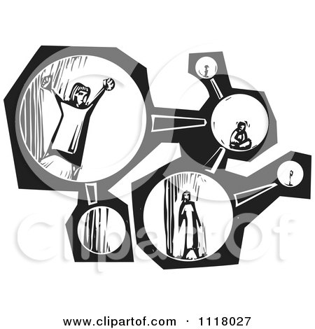 Woodcut Clipart Of Black And White People In A Molecule - Royalty Free Vector Illustration by xunantunich