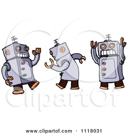 Vector Cartoon Of A Dancing Robot Shown In Three Poses - Royalty Free Clipart Graphic by lineartestpilot