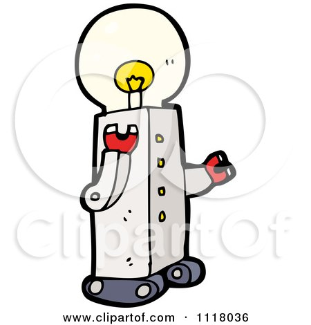 Vector Cartoon Of A Light Bulb Head Robot 1 - Royalty Free Clipart Graphic by lineartestpilot