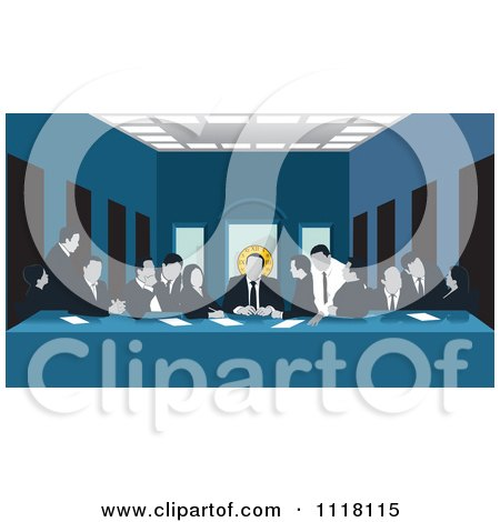 Clipart Of A Art Parody Of The Last Supper Showing A Business Team At Work - Royalty Free Vector Illustration by David Rey