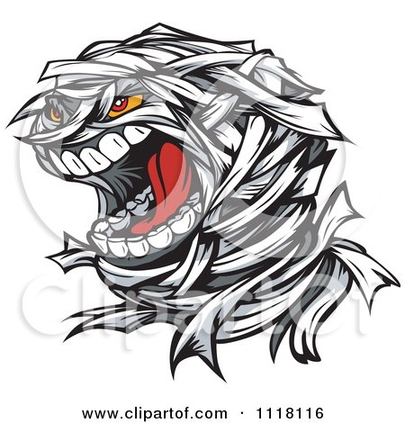 Cartoon Of A Screaming Mummy Face - Royalty Free Vector Clipart by Chromaco