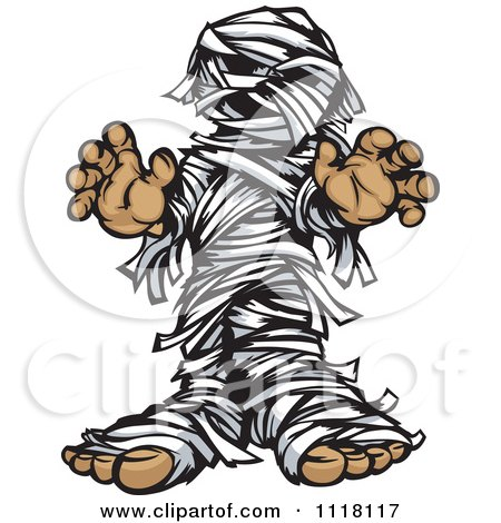 Cartoon Of A Scary Mummy Reaching Out - Royalty Free Vector Clipart by Chromaco