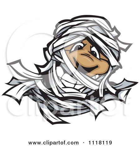 Cartoon Of A Happy Mummy Face - Royalty Free Vector Clipart by Chromaco