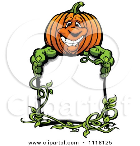 Cartoon Of A Happy Halloween Pumkin And Vine With A Sign - Royalty Free Vector Clipart by Chromaco