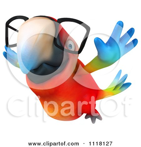 Clipart Of A 3d Bespectacled Macaw Parrot Flying 2 - Royalty Free CGI Illustration by Julos