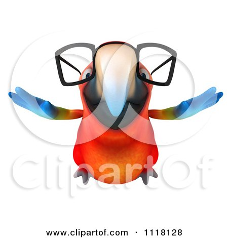 Clipart Of A 3d Bespectacled Macaw Parrot Flying 1 - Royalty Free CGI Illustration by Julos