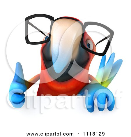 Clipart Of A 3d Bespectacled Macaw Parrot Holding A Sign 1 - Royalty Free CGI Illustration by Julos