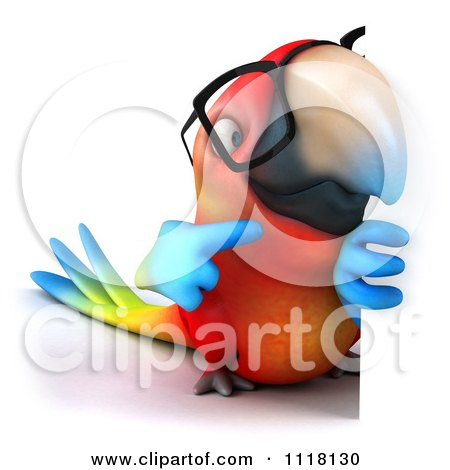 Clipart Of A 3d Bespectacled Macaw Parrot Holding A Sign 2 - Royalty Free CGI Illustration by Julos