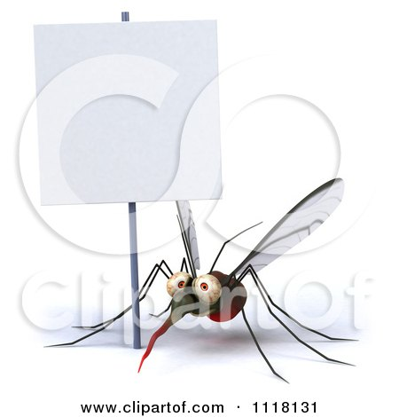 Clipart Of A 3d Mosquito With A Sign 1 - Royalty Free CGI Illustration by Julos