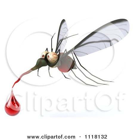 Clipart Of A 3d West Nile Virus Mosquito With A Blood Droplet - Royalty Free CGI Illustration by Julos