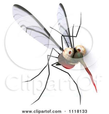 Clipart Of A 3d Mosquito With A Sign 2 - Royalty Free CGI Illustration by Julos