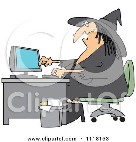 Cartoon Of A Halloween Vampire Using A Computer At An Office Desk - Royalty Free Vector Clipart by djart