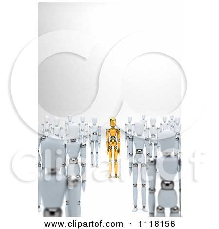 Clipart Of A 3d Unique Gold Mannequin Standing Between Crowds Of White Dummies - Royalty Free CGI Illustration by stockillustrations