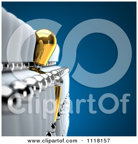 Clipart Of A Unique 3d Gold Mannequin Leaning Out Of A Row Of White Mannequins - Royalty Free CGI Illustration by stockillustrations