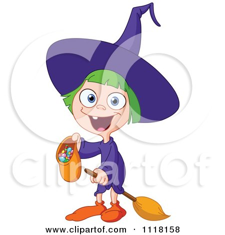 Cartoon Of A Happy Trick Or Treating Halloween Girl In A Witch Costume - Royalty Free Vector Clipart by yayayoyo